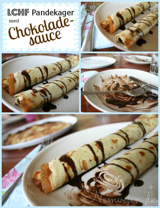 LCHF pandekager med chokoladesauce chokoladesovs